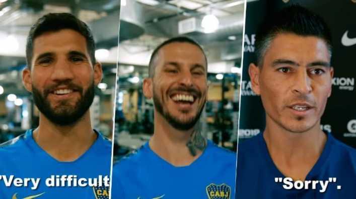 A los jugadores de Boca los hicieron hablar en inglés...