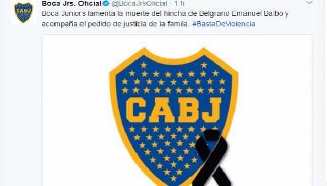 BOCA JUNIORS PUSO CRESPON NEGRO POR LA MUERTE DE BALBO