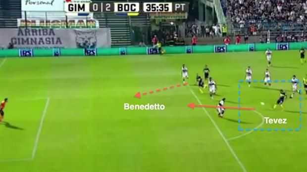 Como le gusta a Tevez, en un rol más asistidor que goleador en Boca