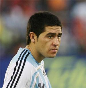 foto riquelme con la camiseta de argentina