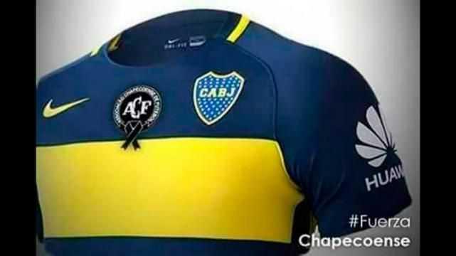 El domingo, Boca y Racing llevarán un escudo de Chapecoense en sus camisetas