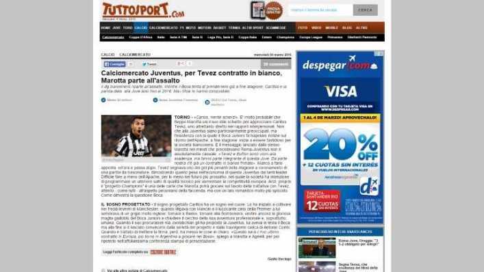 JUVENTUS VS BOCA ITALIANOS OFRECEN TEVEZ CONTRATO EN BLANCO