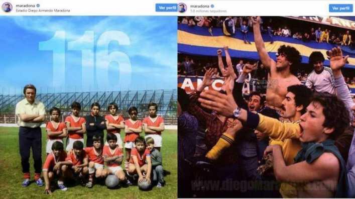 La doble publicación de Maradona con Argentinos y Boca