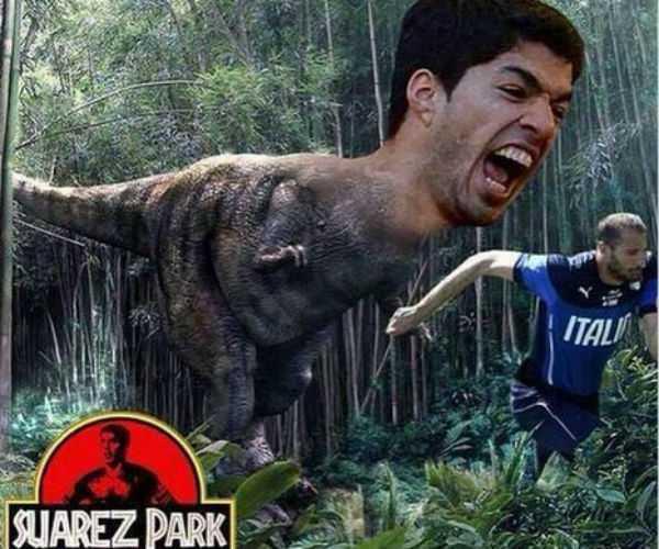 El otro duelo de Berlín ya tiene memes: Suárez vs. Chiellini, un año después de la mordida