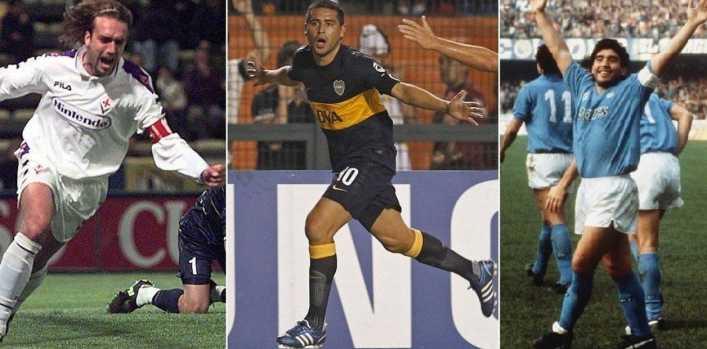 Riquelme, Maradona y Batistuta, entre los más atractivos