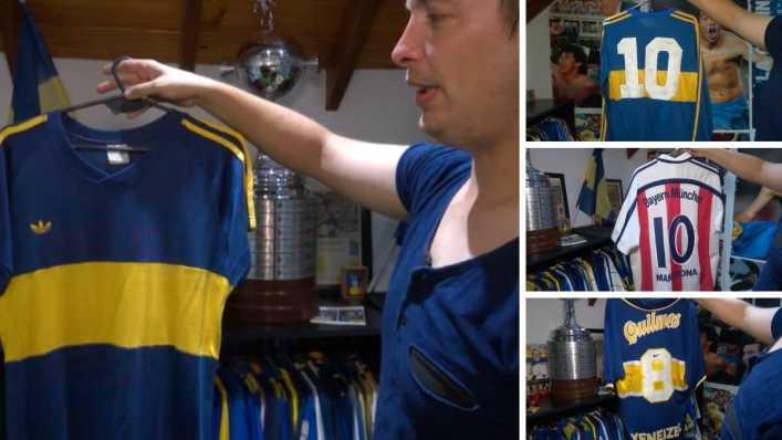 VIDEO: El coleccionista de camisetas de Boca: Tévez, Maradona, Riquelme