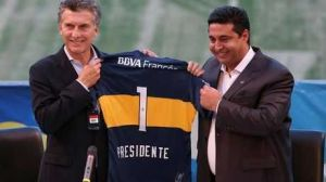 Foto Juan Roman Riquelme Boca Juniors Rindio Homenaje Mauricio Macri