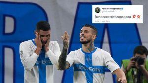 Griezmann enloquece con el gol de Benedetto