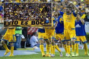 river plate vs tigres. hinchas de boca juniors apoyan al equipo mexicano