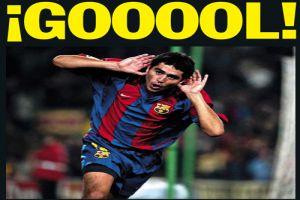 Foto Juan Roman Riquelme celebrando golazo con Barcelona