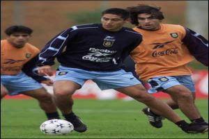 Foto Juan Roman Riquelme entrenando con Argentina