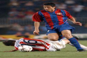 Foto Juan Roman Riquelme regate con Barcelona