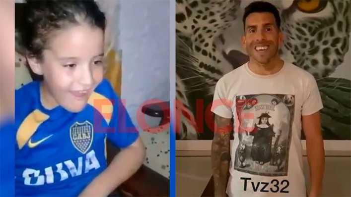 Luciana recibió un saludo especial de Tévez tras ser operada por un tumor